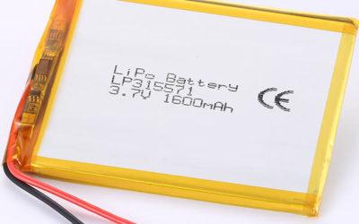3.7V LiPo Battery LP315571 1600mAh For Prototype Testing