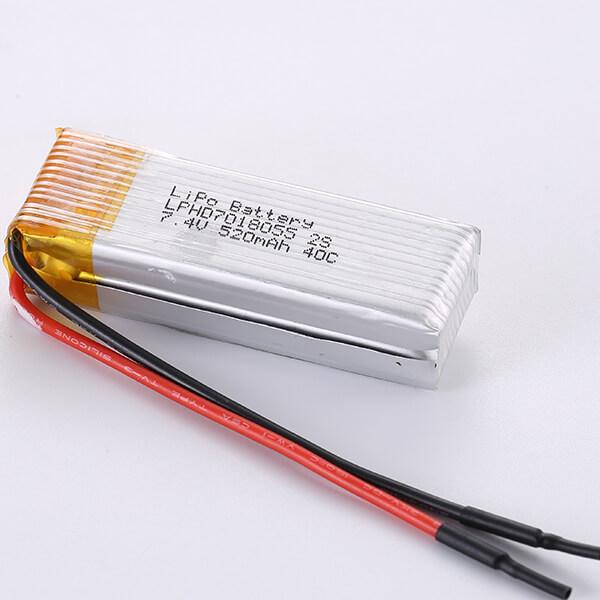40C High Rate Discharge 7.4V LiPo Battery Packs 2S LPHD7018055 520mAh