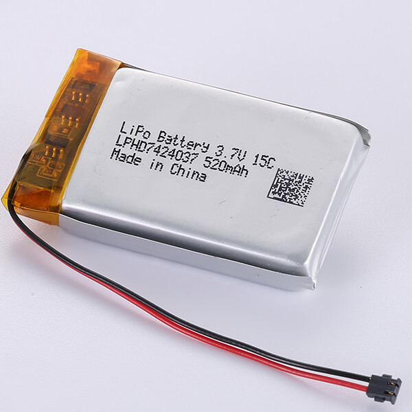 3.7V High Rate Dischargeable LiPo Battery LPHD7424037 520mAh 15C