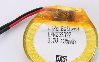 3.7V Round Rechargeable LiPo Battery LPR253027 135mAh