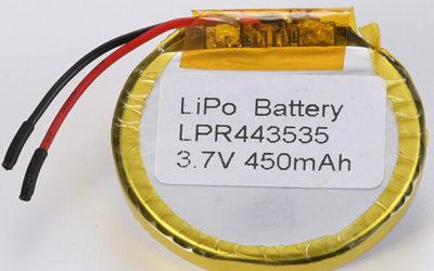 Round LiPo Battery 3.7V LPR443535 450mAh