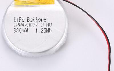 Round LiPo Battery 3.7V LPR473027 330mAh 1.25Wh