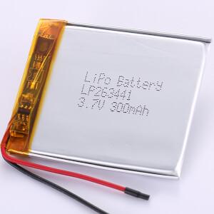 3.7V Rechargeable LiPo Battery LP263441 300mAh
