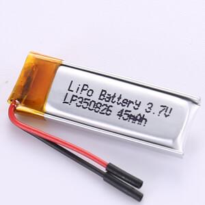 45mAh Small Capacity LiPo Battery LP350826 3.7V