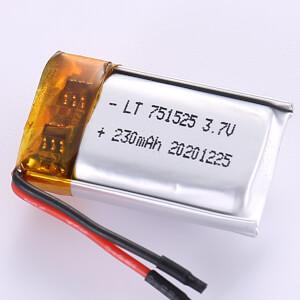230mAh Small LiPo Battery LP751525 3.7V
